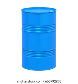 Blue Oil Drum Isolated. 3D rendering