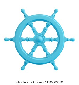 Blue old ship steering wheel isolated on white background. Trendy fashion style. Minimal design art. 3d illustration.
