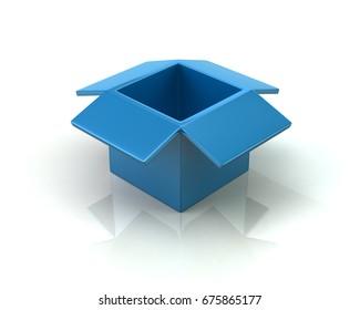 Blue open box 3d illustration on white background