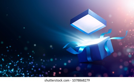 Blue open gift box with magical light - 3d rendering