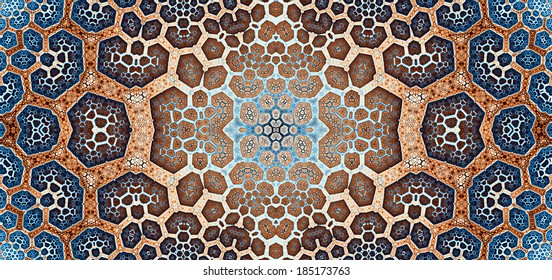 Blue and orange abstract high resolution fractal background with a detailed leafy organic looking pattern divided into a grid and a flower-like structure in the center