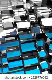 Blue Orange Glass Abstract futuristic 3d background, cubes shape, 3D rendering, 3d render illustration of different colors cubes