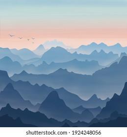 Blue and Orange Rocky Hills Landscape Digital Illustration