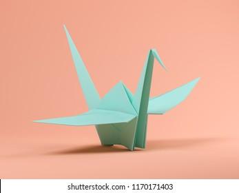 Blue origami on pink background 3D illustration