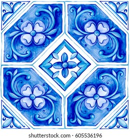 Blue ornaments on the tiles, watercolor, spain, italy, Majolica, floral ornament