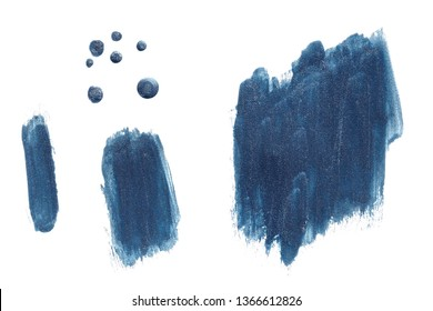Blue paint, polish, construction and finishing varnish pearl, glitter brush shapes and drops. Universal elements for your design, flyers, cards, branding and digital scrapbooking.