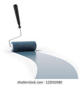 Blue paint roller isolated on a white background