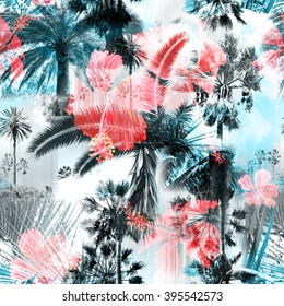 Blue palm trees seamless pattern colorful background with tropical flowers hibiscus. Clip art - photo collage - great artistic work for floral design. With layering effects.