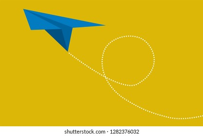 Blue paper plane on yellow background, 3D rendering