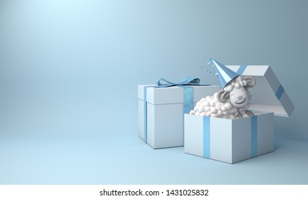 Blue pastel gift box and a sheep on studio lighting background. Design creative concept of islamic celebration eid al adha or happy birthday. 3d rendering illustration.