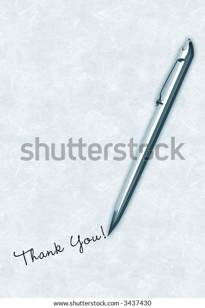 Blue pen writing / handwriting thank you message on antique textured paper