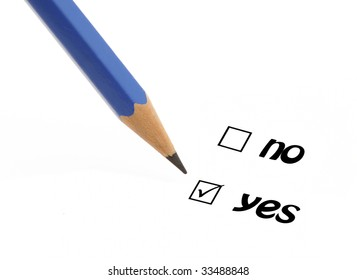 Blue pencil choosing option yes instead of no on a questionnaire