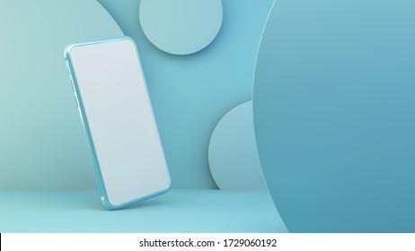 Blaues Telefon mit weißem Bildschirm 3D-Darstellung