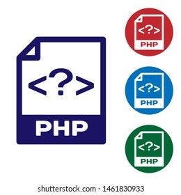 Blue PHP file document icon. Download php button icon isolated on white background. PHP file symbol. Set color icon in circle buttons