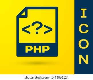 Blue PHP file document icon. Download php button icon isolated on yellow background. PHP file symbol