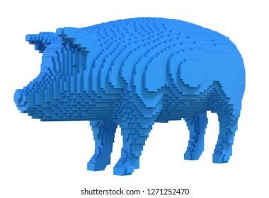 Blue pig from plastic blocks on a white background. 3D illustration.
