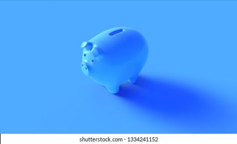 Blue Piggy Bank 3d illustration 3d render