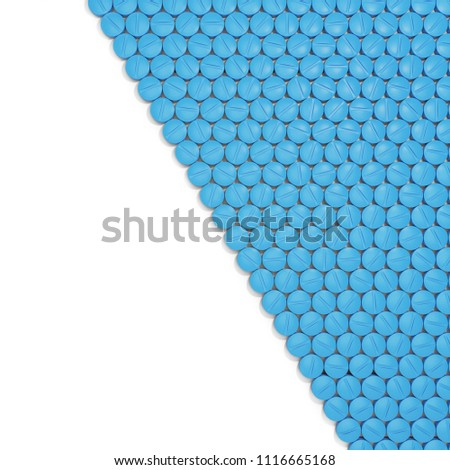 Blue Pills isolated on White Background. 3D illustration