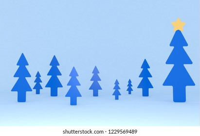 Blue pines background scene. Set.3d illustration