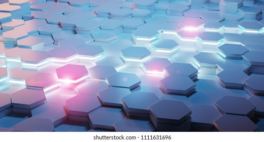 Blue and pink abstract hexagons background pattern 3D rendering