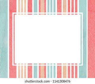 Blue, pink and beige striped watercolor frame.