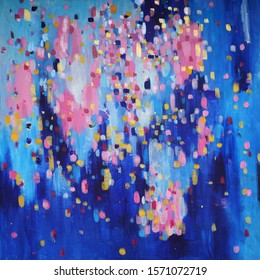 Blue and pink, bright hand painted abstraction. original art. good quality photo
