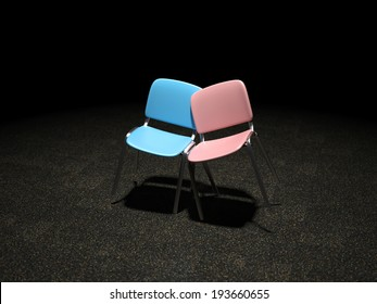 A blue and pink chair bright illuminated leaning against each other symbol for love and relationship