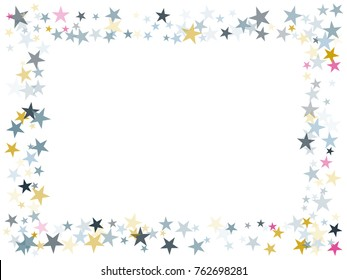 Blue pink gold flying stars confetti frame christmas image border, premium sparkle stardust background pattern. Christmas stars background image print, flying sparkle festive confetti. Holiday frame