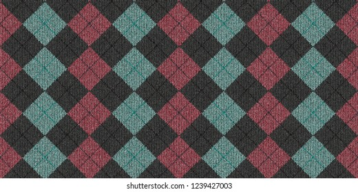 Blue Pink Gray Checkered Knitted Weaving Background. Wool Knitwear Cotton Texture. Fabric Material Cloth Backdrop.
