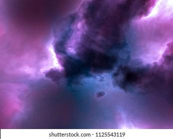 blue, pink and purple nebula space stars sky CG illustration background