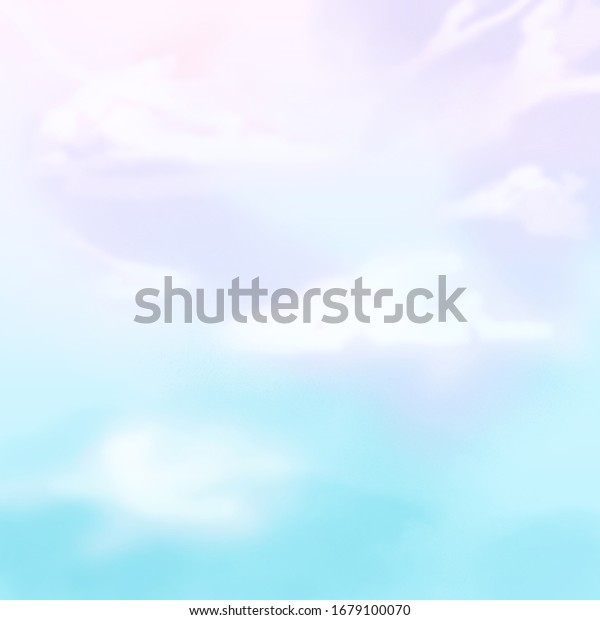 Blue Pink Sky Fantasy Aesthetic Watercolor Stock Illustration 1679100070
