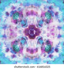Blue and pink symmetrical tapestry print design pattern