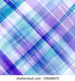 Blue plaid watercolor. Hand painted brush strokes background