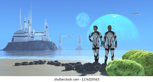 Blue Planet 3D illustration - Two men in military uniform visiting from Earth check out a shoreline in a world with two large moons and a modern colony.