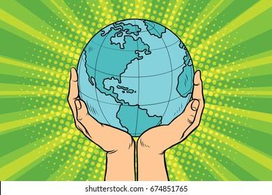 Blue planet Earth in human hands. Pop art retro  illustration