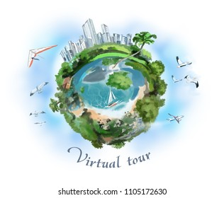 Blue planet with forests and ocean against the blue sky and clouds. Digital illustration.