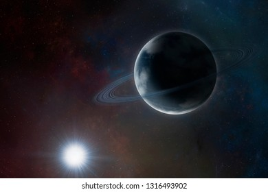 Blue planet with rings and atmosphere on space background near sun. Sci-fi space art with exoplanet. Surreal space illustration with saturn like planet and star (no NASA images used)