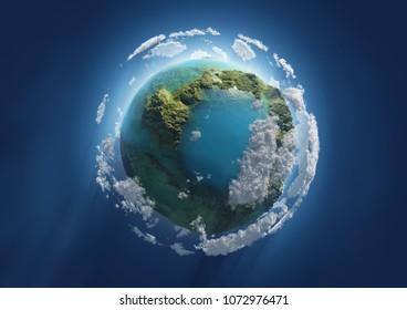 planeta azul en el espacio, ilustración 3d