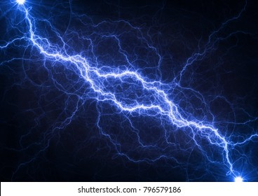 Blue plasma lightning, abstract electrical background