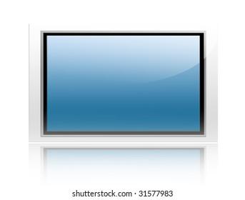 Blue plasma screen on white background. Isolated electronic object
