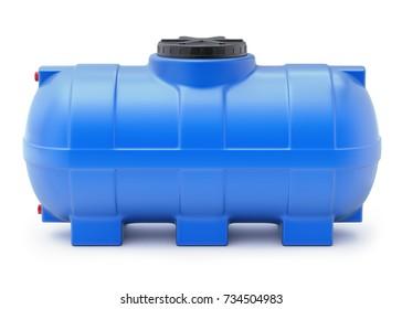 Blue plastic water cistern on white background - 3D illustration