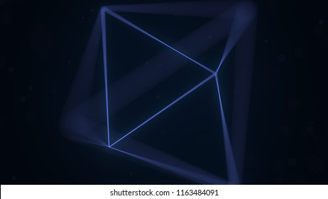 Blue Platonic solid octahedron. Computer graphics related 3D rendering