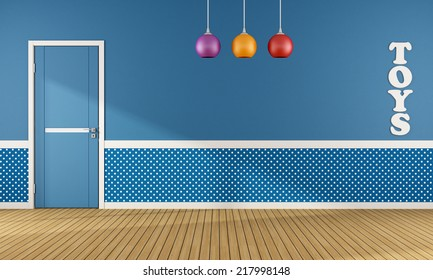 Blue playroom with closed door and colorful chandelier - rendering