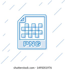 Blue PNG file document icon. Download png button line icon isolated on white background. PNG file symbol
