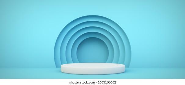 podio azul con fondo de círculos 3d renderizado