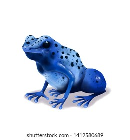 Blue Poison Dart Frog realistic illustration