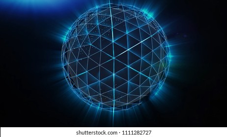 Blue Polygonal Sphere Spinning. Stock. Abstract neon ball made from lines.