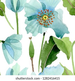 Blue poppy botanical flower. Wild spring leaf wildflower isolated. Watercolor illustration set. Watercolour drawing fashion aquarelle. Seamless background pattern. Fabric wallpaper print texture.