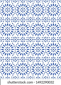 Blue porcelain seamless pattern. Delft style pottery design, watercolor delicate kitchen mosaic decor. Portugal Lisbon azulejo ceramic tile. Mediterranean navy blue tiling ornament