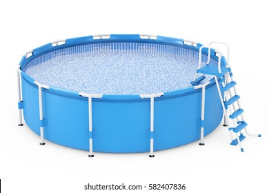 Blue Portable Outdoor Round Swimming Water Pool with Ladder on a white background. 3d Rendering.